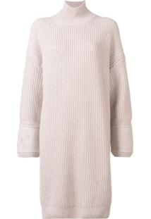 Fendi Embroidered Cuff Knitted Dress - Rosa