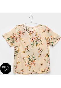 Blusa Jolie Floral Plus Size Feminina - Feminino-Bege