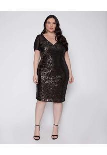 Vestido Almaria Plus Size Pianeta Curto Paetê Pret