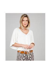 Blusa Feminina Com Botões E Cordão Manga Curta Decote V Off White