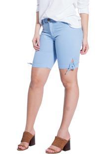 Bermuda Rosa Line Jeans Com Laço Azul