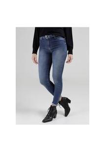Calça Jeans Skinny Com Cinto Feminina Azul