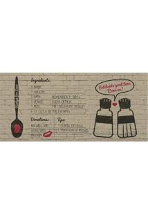 """Tapete Transfer """"Recipe For Love""""- Marrom Claro & Preto"""
