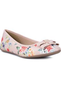 Sapatilha Floral Com Laã§Os & Recortes- Rosa Claro & Vermcarmen Steffens