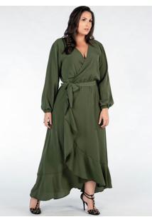 Vestido Plus Size Verde Longo Com Babados