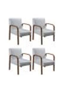 Kit 4 Cadeiras Anita Poltrona Decorativa Braço Madeira Para Escritório, Recepção, Sala De Estar Vários Ambientes - Corino Branco