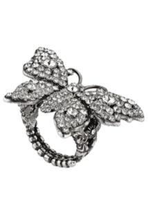 Gucci Anel Butterfly Com Aplicação De Cristais - Prateado