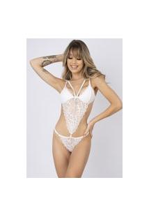 Body Sexy Bella Fiore Modas Renda Strappy Carine Branco