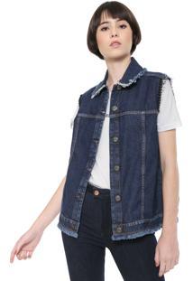 Colete Jeans Triton Aplicações Azul