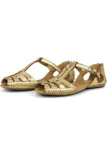 Tamanco Top Franca Shoes Babuche Feminina - Feminino-Ouro