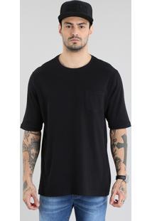 Camiseta Longa Canelada Com Bolso Preta