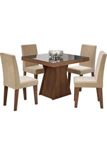 Conjunto De Mesa Olivia Para Sala De Jantar Com 4 Cadeiras Milena- Cimol - Marrocos / Suede Bege