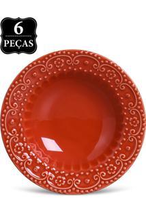 Jogo De Pratos Fundos Porto Brasil 6 Peã§As Esparta 22Cm Vermelho - Vermelho - Dafiti