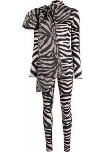 Atu Body Couture Body Com Stretch E Estampa De Zebra - Neutro