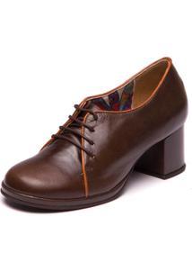 Sapato Retro Em Couro Chocolate / Papaya - 5866