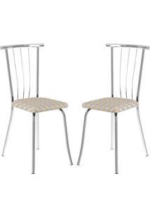Cadeira 154 Cromada 02 Unidades Retrô Metalizado Carraro