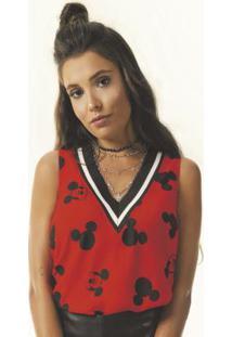 Blusa Estampada Com Decote V Vermelho