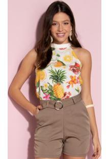 Blusa Floral Frutado Sem Mangas