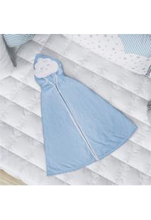 Toalha Banho Bebê Com Capuz Nuvem De Algodão Grão De Gente Azul