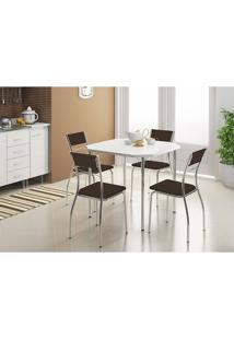 Mesa 1510 Branca Cromada Com 4 Cadeiras 1701 Cacau Carraro