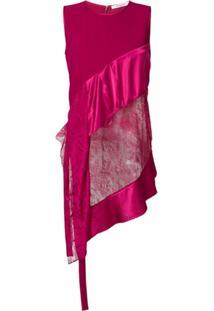 Givenchy Blusa Assimétrica Com Renda E Babados - Rosa