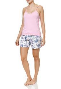 Pijama Curto Feminino Off White/Rosa