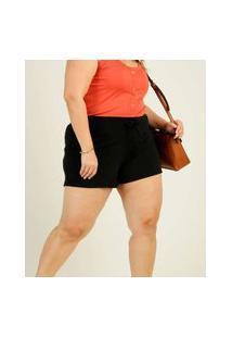 Short Plus Size Feminino Tiras Amarração