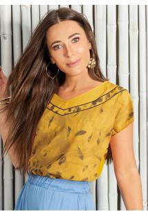 Blusa Com Decote V Estampada Amarelo