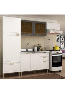 Cozinha Completa 4 Peã§As Americana Multimã³Veis 5689 Branco/Grafite - Branco/Incolor - Dafiti