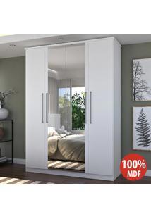 Guarda-Roupa Casal 4 Portas 2 Gavetas 100% Mdf Com Espelho 974E2P Branco - Foscarini