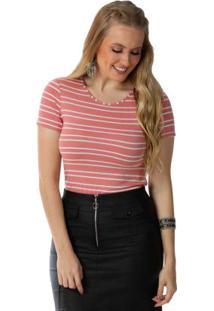 Blusa Listrada Com Decote Redondo Rosa