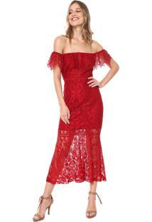 f745b9669 ... Vestido Ana Hickmann Midi Renda Vermelho