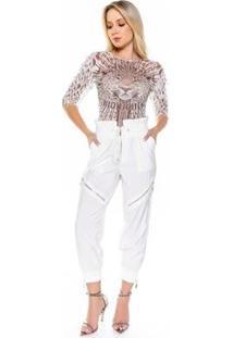 Blusa De Tule Leopardo Com Bordado Caos Feminina - Feminino-Branco