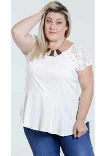 c048ac05eb65fd Blusa Feminina Peplum Renda Plus Size Marisa