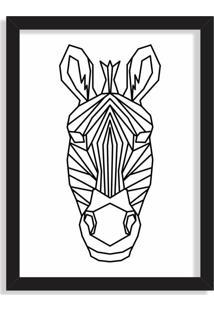 Quadro Decorativo Line Drawing Zebra Preto - Médio
