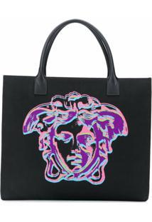 Versace Bolsa Tote De Algodão Com Medusa - Preto