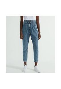 Calça Clochard Jeans Com Pregas No Cós E Cinto | Blue Steel | Azul | 36