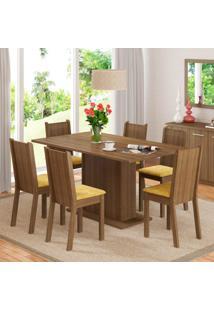Conjunto De Mesa Com 6 Cadeiras Megan Rustic E Palha