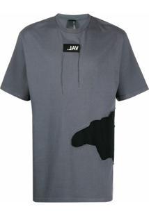 Val Kristopher Camiseta Eroded Com Sobreposição E Logo - Cinza