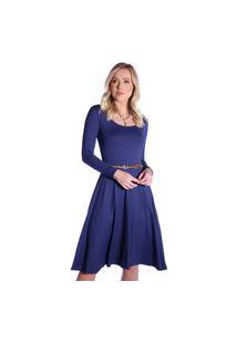 Vestido Azul Marinho Ficalinda Manga Longa Decote Redondo