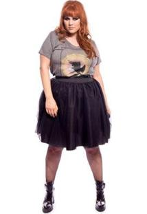Saia Vintage And Cats De Tule Back To Black Plus Size - Feminino-Preto