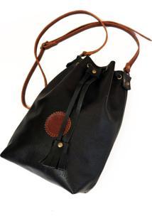 Bolsa Line Store Leather Bucket Clássica Couro Preto.