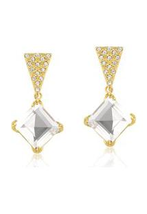 Brinco Toque De Joia Quartzo Cristal Quadrado Geométrico Zircônias Dourado
