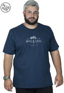 Camiseta Bigshirts Estampa Motorcycle Azul Marinho
