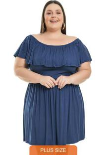 Vestido Com Babados Azul