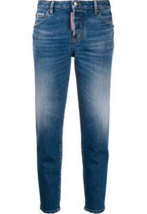 Dsquared2 Calça Jeans Cropped Com Efeito Desbotado - Azul