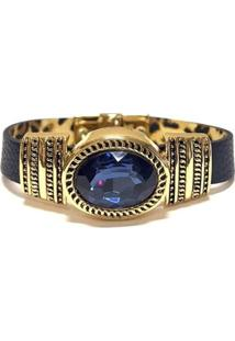 Pulseira Armazem Rr Bijoux Couro Cristal Oval Azul - Feminino