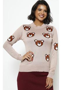 Blusa Em Tricot Ursos- Rosa & Marrom- Ponto Aguiarponto Aguiar