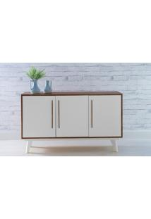 Armário Pés Palito Buffet 3 Portas De Madeira Maciça Capuccino Branco Celeste - 133X40X79,5 Cm
