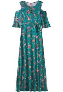 Vestido Longo Em Viscose Stretch Floral Wee! Plus Size - Feminino-Verde